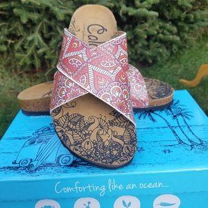 Boho Paisley Vegan Leather Calceo Slide Sandals